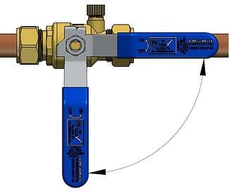 How to turn ball valve on and off