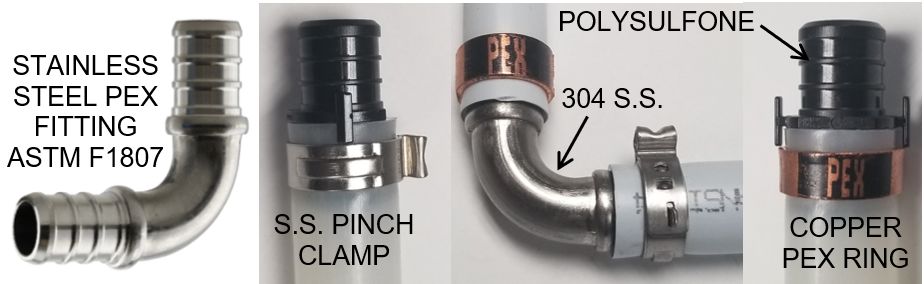 Stainless Steel and Plastic Pex Fittings for Pex B and C